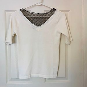 Tops - White Top with Black Lace, Short Sleeves, size 0